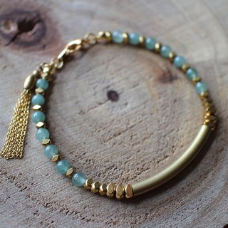 Muse DF natural wind series NO.90 green jade bracelet brass elbow