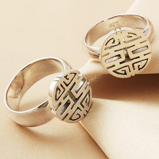 Rings Customized Chinese Style Lovers Rings Decorated Silver Rings-ART64