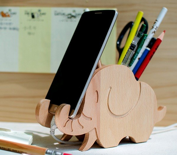 Elephant iPhone Android customized log phone holder pen holder [Teacher's Day thank you gift]