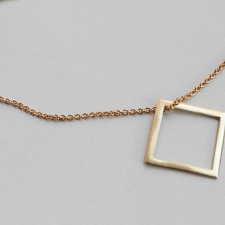 Hollow square brass necklace