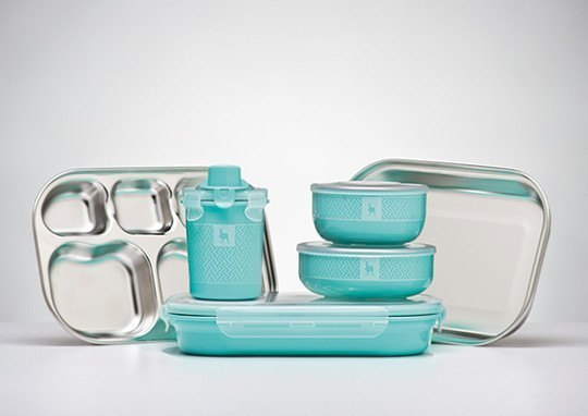 [Environmental Tableware] Kangovou Small Kangaroo Stainless Steel Safety Children's Cutlery Set - Mint Green