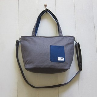 Dachshund Dog Zip Opening Canvas Tote Bag - Medium (Charcoal + Navy) + Removable Adjustable Strap + Small Outside Pocket