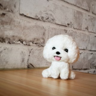 Sheep Le X wool felt cute Bichon dog cell phone strap key ring