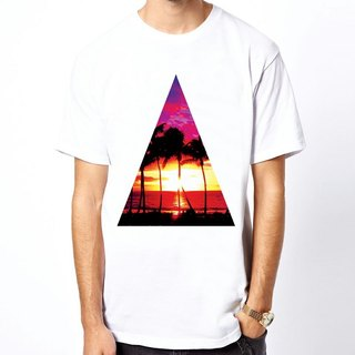 Triangle-Sunset white t shirt
