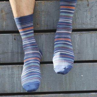 Gentle fruit stripes gentleman socks blue