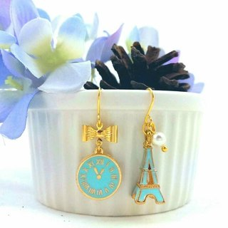 Paris Good times - Tiffany blue asymmetric hypoallergenic earrings / ear hook