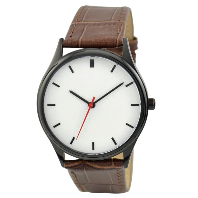 Simple Watch (white-faced black striped / black shell) Brown belt Free shipping worldwide