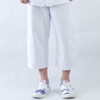 Chainloop white denim wide pants fashion white tailor Made in Taiwan