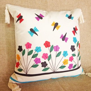【Grooving the beats】Hand Embroidered Cushion cover / Pillow Cover /   Decorative Pillows/ Pillow Case(Dragonfly and Flower)