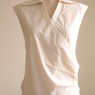 Hypotenuse sleeveless shirt collar shirt (Beige)