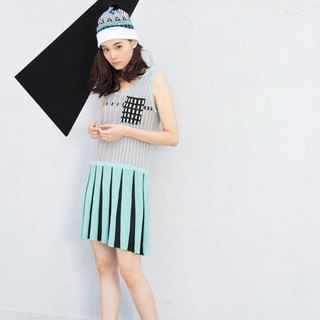 Mint Sleeveless Pleated Knitted Tank Dress