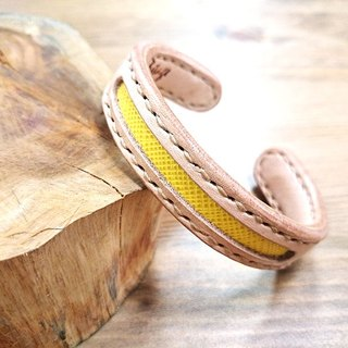 Five lucky hand-made leather _ concentric leather bracelet - copper core increase (s) - Five yellow