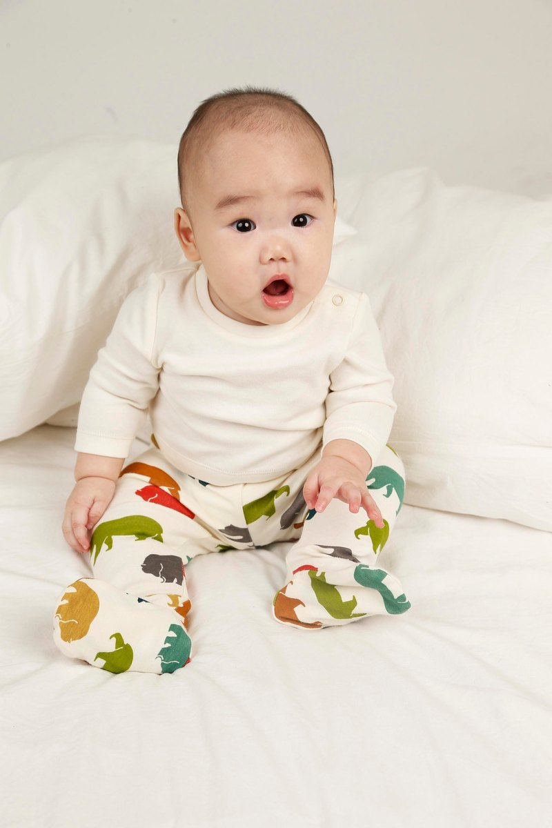 gujui Love Bear (color) - Organic cotton trousers (including feet)