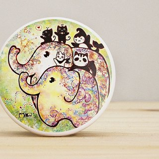 Good round double sided mirror - elephant blossom