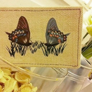 Drop cushions series - fold butterfly / linen postcard