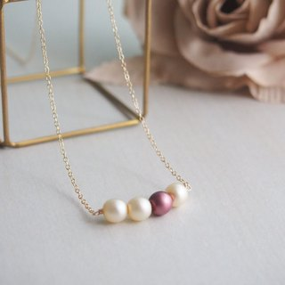 [14kgf] Czech glass pearl necklace (Antique Rose)