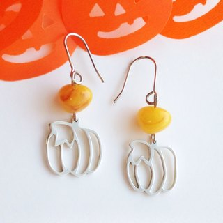 [Order production] earrings / Silver 950 Pumpkin Design: beads color selectable