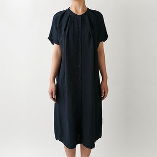 【Botanical dyed】  Burdock dyed linen/rayon long shirt dress