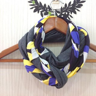 [Heart] twist neck warm scarves around ‧: gray + yellow and blue geometric