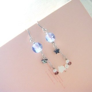 Grapefruit Forest Hand-colored Glass - Glass Earrings - Slightly Gleaming - Luminous (can be clipped for free)
