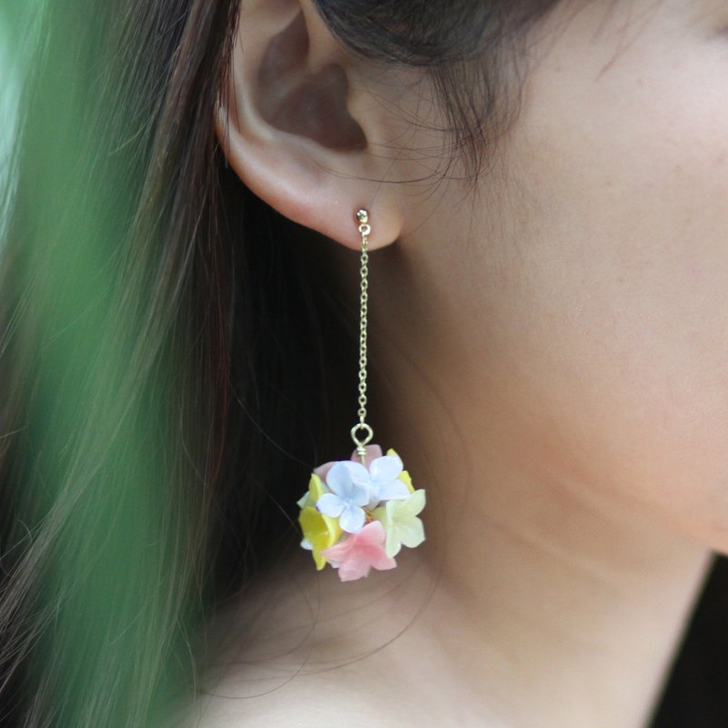Pamycarie Spring resin clay pink hydrangeas yellow gold plated 925 sterling silver earrings single