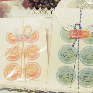 Macaron series sticker (mint blue + rose pink)