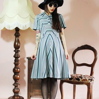 F1014 (Vintage) dark blue green striped short-sleeved vintage dress (wedding / picnic / party)