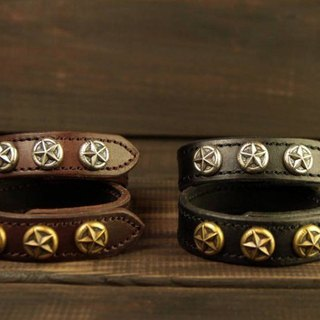 [METALIZE] star buckle leather bracelet