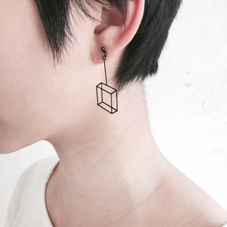 3D 透視画法ボックスピアス ∎ Black Illusion box earring ∎ Illusion collection ∎