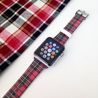 Apple Watch Series1, Series2 & Series 3  - 格子紅色圖案 Apple Watch 真皮手錶帶38 / 42mm ,100%香港設計及製作 - 59