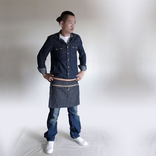 """CANCER popular laboratory"" staff half-length apron / work apron / denim apron"