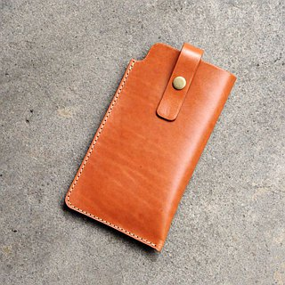 [DOZI leather hand-made] pull-type mobile phone bag iPhone6s 6s+ all kinds of styles mobile phone sets cow leather dyeing can be free color scheme light brown