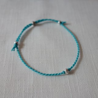 ~M+Bear~*Simple and simple*Sky Blue Simple Fine Bracelet 925 Sterling Silver Japanese Wax Line