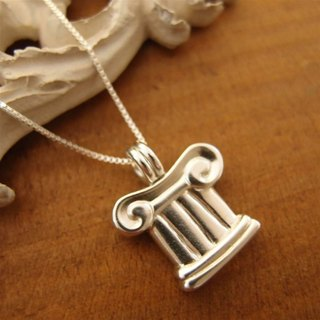 Greek temple Column Silver Necklace