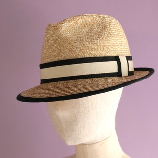 "Straw Hat Black Trimmed Fedora Hat ""Jean"""