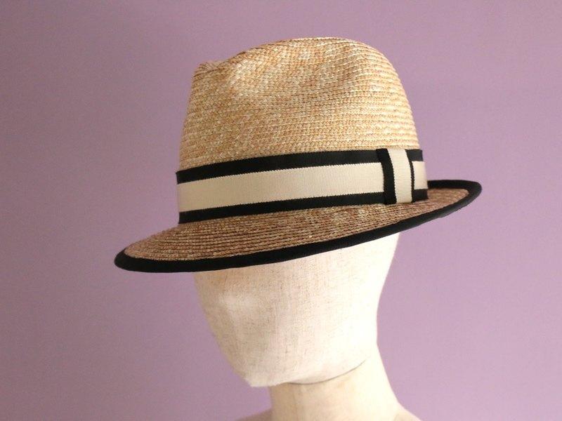 f0072e2a97fbfa Straw Hat Black Trimmed Fedora Hat