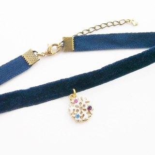 Navy blue velvet choker / necklace with snowflake charm.