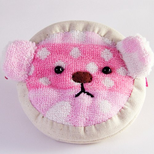 "Cheerful. """" Bear ""cute"" custom name zipper purse ~ Pretty pink"
