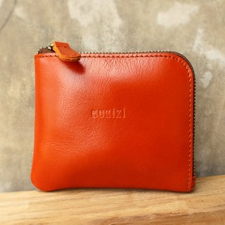 Wallet - Side / Leather Wallet / Leather Bag / Small Wallet / Short Wall- Orange