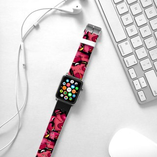 Apple Watch Series 1 , Series 2, Series 3 - Black Pink Graffiti Wall Watch Strap Band for Apple Watch / Apple Watch Sport - 38 mm / 42 mm avilable