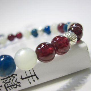 Ideal Nation - All Natural Garnet + Abbey + Moonstone 925 Silver Bracelet Natural Crystal Sterling Silver Hong Kong Design