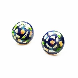 Round retro silver enamel earrings (navy blue)