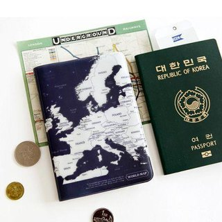 Indigo- World Map Passport Cover - Dark Blue, IDG02770