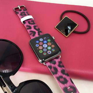 Apple Watch Series 1, Series 2 and Series 3 - Leopard Hot Pink Printed on Genuine Leather for Apple Watch Strap Band 38 / 42 mm - 55