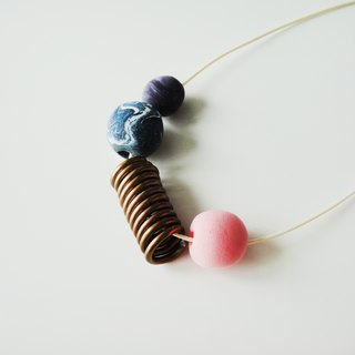 Marble Clay Necklace with pink, purple and blue
