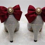 高貴蝴蝶結閃爍高跟鞋.酒紅誘惑.水晶珍珠婚宴鞋夾飾品