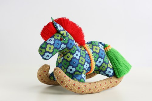 Even shook his hand-sewn Maputo / decorations (large blue cloth / red mane) - Fabric Rocking Horse