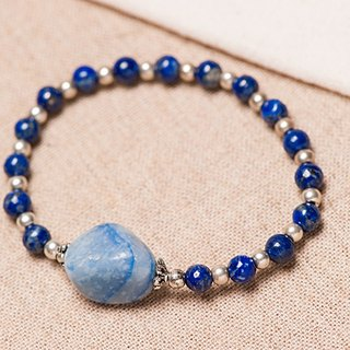 【Woody'sHandmade】和氣。青金石藍晶石手串。Gentle and Kind - Lapis lazuli with Kyanite