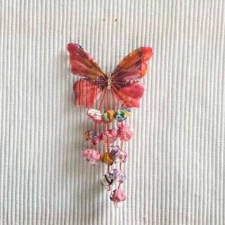 Fu Ying, butterfly tassels, small side clips, brooches, bangs clip, dual-purpose models modeling small things - red
