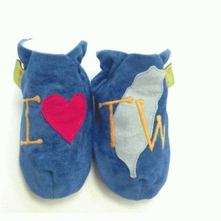 [British handmade shoes FunkyFeet Fashions] love Taiwan blue toddler shoes